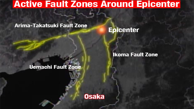 active fault zones around the epicenter